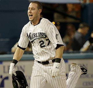 Jeremy Hermida heads toward home to celebrate his game-winning homer vs. the Cardinals.  (AP)