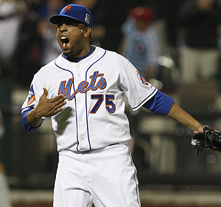 Francisco Rodriguez celebrates his 16th save in 16 chances for the Mets this season.  (AP)