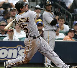 Andy LaRoche connects on this two-out, two-run single in the ninth to win it for the Pirates. (AP)