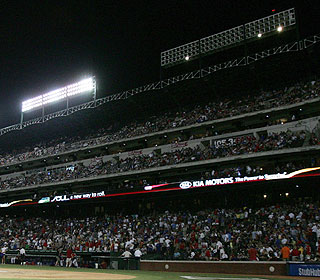 The game stops for almost two hours after lights around the park go out in the sixth inning. (US Presswire)
