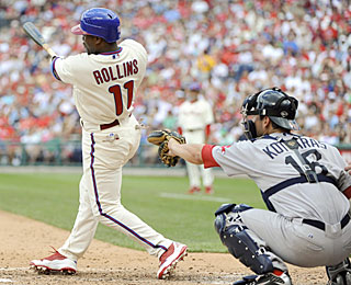 Jimmy Rollins leads off the seventh with a HR, then later takes one for the team to drive in a run. (US Presswire)