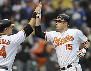 Fellow rookie Nolan Reimold congratulates Matt Wieters, who clubs his first big league home run.  (AP)