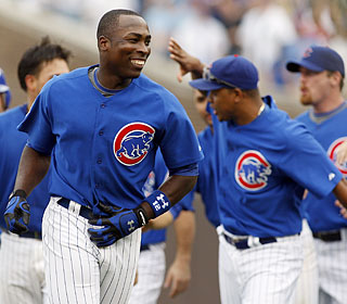 Alfonso Soriano is all smiles after knocking in the winning run to cap the Cubs rally.  (US Presswire)