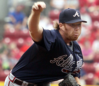 Tommy Hanson yields three hits and four walks, while striking out two in six scoreless innings.  (AP)