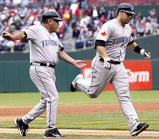 Rod Barajas continues to upset Philly fans, but this time as an opposing player who hits a tiebreaking homer.  (AP)