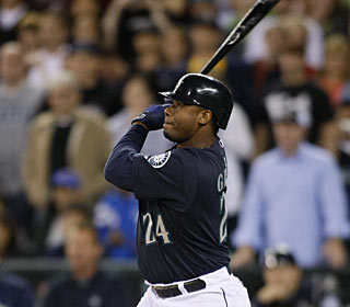 Ken Griffey Jr. hits his sixth career pinch-hit homer, but first since September of 2006.  (AP)