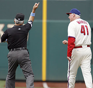 Charlie Manuel's rough weekend ends early when he is ejected in the eighth inning.  (AP)