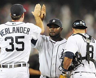 Fernando Rodney (center) gets his due for earning his 15th save in as many tries for Detroit.  (US Presswire)