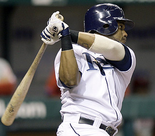 Willy Aybar knocks in three runs as the Rays take two of three in a rematch of last year's World Series.  (AP)
