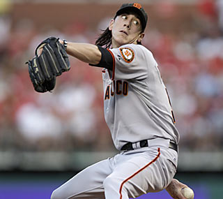Tim Lincecum K's eight batters as he claims his third complete game of the season.  (AP)