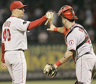 Brian Fuentes celebrates his major league-leading 22nd save in 25 opportunities.  (AP)