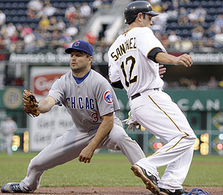 Freddy Sanchez helps soothe the Pirates' misery against the Cubs, going 3 for 3 with two RBI.  (AP)