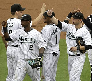 Hanley Ramirez (2) and his buddies celebrate as the Marlins improve to 9-0 against Washington in '09. (AP)