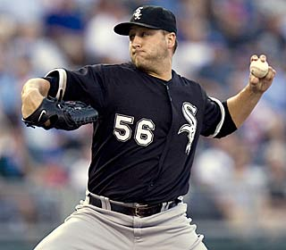 Mark Buehrle improves to 8-2 by allowing one run and six hits in 8 1/3 innings.  (AP)