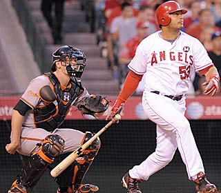 Bobby Abreu has his 14th multihomer game -- and first as an Angel -- to beat the struggling O's.  (AP)