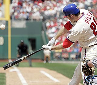 Recently named All-Star Chase Utley crushes his 18th homer of the season in the sixth inning.  (AP)