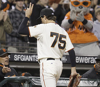 It doesn't happen often as of late, but Barry Zito reaches the ninth inning having struck out six. (AP)