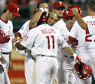 Shane Victorino, who continues his surge at the plate, excites his teammates with his latest clutch hit.  (AP)