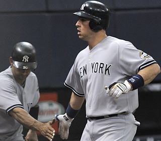 Mark Teixeira snaps a 23-game homerless stretch with a long blast off Francisco Liriano.  (AP)