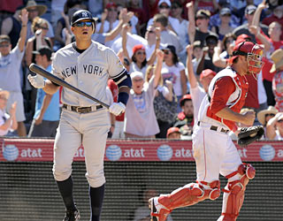 Just as his Yankees go winless this weekend in Anaheim, Alex Rodriguez goes hitless in the series finale.  (AP)
