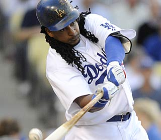 Manny Ramirez doesn't have a Hollywood return to L.A., going 1 for 4 with two strikeouts.  (AP)