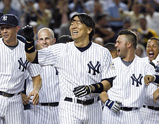 Hideki Matsui's second career walk-off homer extends the Yankees' winning streak to four games.  (AP)