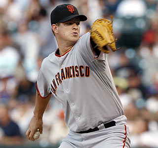 Matt Cain gives up only three hits and one walk while striking out five in the victory.  (AP)
