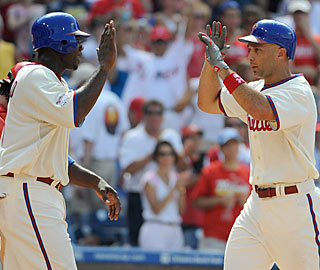 Ryan Howard and Raul Ibanez each hit two-run homers and have combined for 51 long balls.  (US Presswire)
