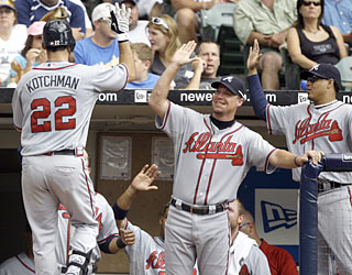 The Braves get plenty of offense from Casey Kotchman, who provides a three-run HR and three runs scored.  (AP)