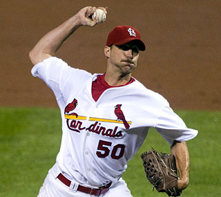 Adam Wainwright goes eight innings and allows no runs to beat Chad Billingsley and the Dodgers.  (US Presswire)