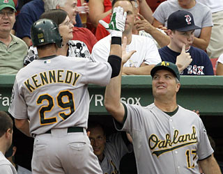 Adam Kennedy kicks off the game with a leadoff home run and the Athletics never look back.  (AP)