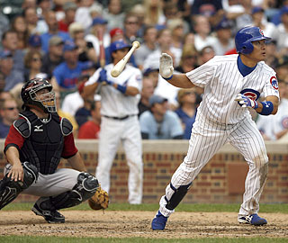 Kosuke Fukudome hits a triple in the seventh inning to reach base for the fifth time in the victory.  (AP)