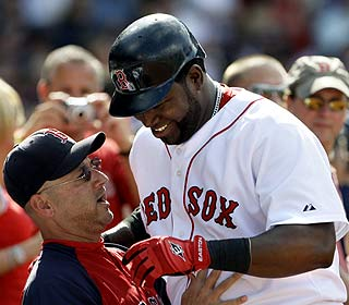 If the allegations bother David Ortiz, he isn't showing it here with his manager in his corner. (AP)
