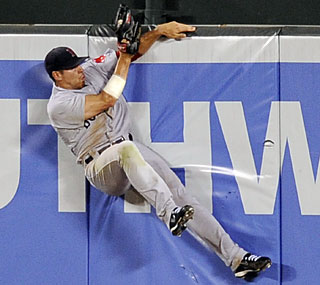 Jacoby Ellsbury robs Luke Scott of a home run with this sensational catch in the sixth inning.  (AP)