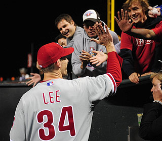 Cliff Lee gets deserved props all around after holding the Giants hitless into the sixth inning. (US Presswire)