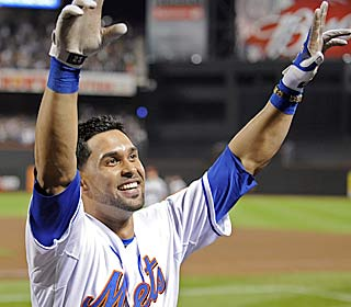 Angel Pagan makes his first homer in two seasons with the Mets a big one, hitting a clutch slam.  (AP)