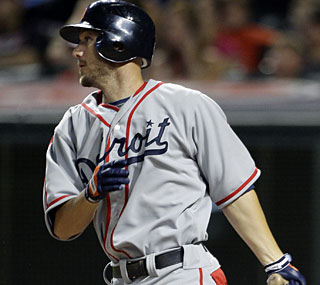 Ryan Raburn knocks in the go-ahead run in the 12th inning to propel the Tigers past the Indians.  (AP)