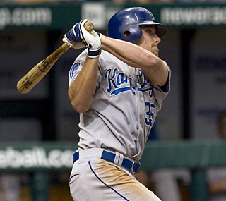 The Royals' Mitch Maier drives in three runs as the Royals finally beat the Rays.  (AP)