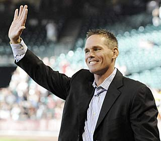 Ex-Astro Craig Biggio is honored after fans voted his 3,000th hit the top moment at Minute Maid Park.  (AP)