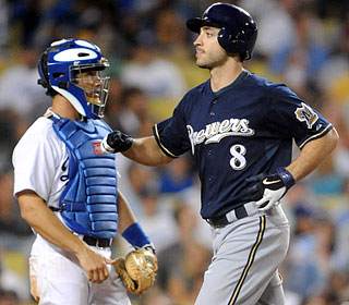 Brad Ausmus can only watch Ryan Braun cross the plate after the slugger's three-run homer.  (US Presswire)