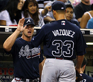 Javier Vazquez gives the Braves a very solid outing, only allowing two runs in seven innings.  (AP)