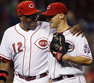 Dusty Baker is very pleased with Justin Lehr (right) after the pitcher yields just four hits in a complete game.   (AP)