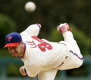 Cliff Lee allows one run and K's nine over seven innings in his first start at Citizens Bank Park.  (AP)