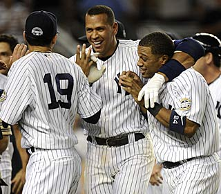 Alex Rodriguez is the man of the moment after his 20th homer ends the marathon.  (Getty Images)