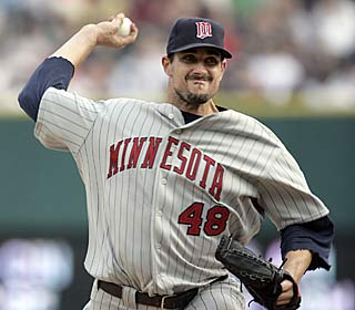 Carl Pavano makes the most of his first start with the Twins, allowing no runs in seven innings.  (AP)