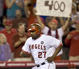 Fans in the stands know what this homer means for Vladimir Guerrero, who reaches No. 400.  (AP)