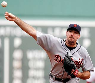 Justin Verlander strikes out eight while tossing eight innings of four-hit ball for the win. (AP)