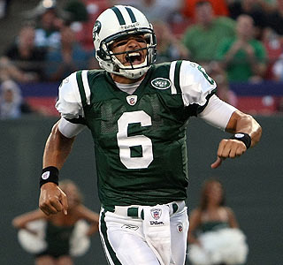 Mark Sanchez has a reason to be happy -- the rookie goes 3 for 4 for 88 yards.  (Getty Images)