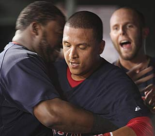 Victor Martinez gets the Red Sox going in the dugout and on the field, keying a six-run ninth.  (AP)
