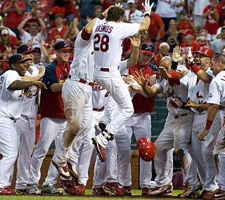 Colby Rasmus is the first Cardinals rookie since 1955 to hit two walk-off homers in a season.  (US Presswire)